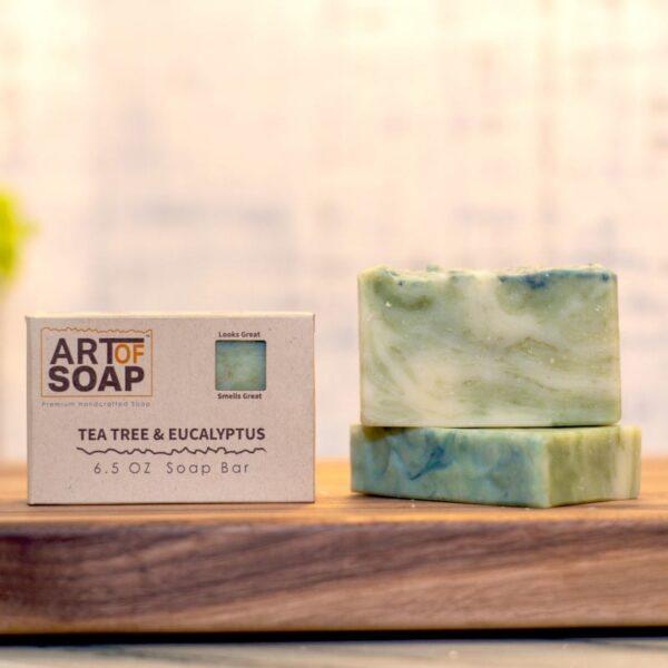 natural organic tea tree and eucalyptus soap bars from art of soap