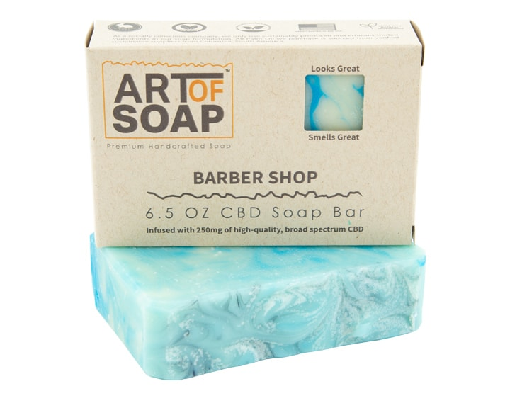 Art of Soap Premium Handcrafted Barbershop CBD infused Soap Bar and Box