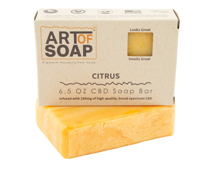 Art of Soap Premium Handcrafted Citrus CBD infused Soap Bar and Box