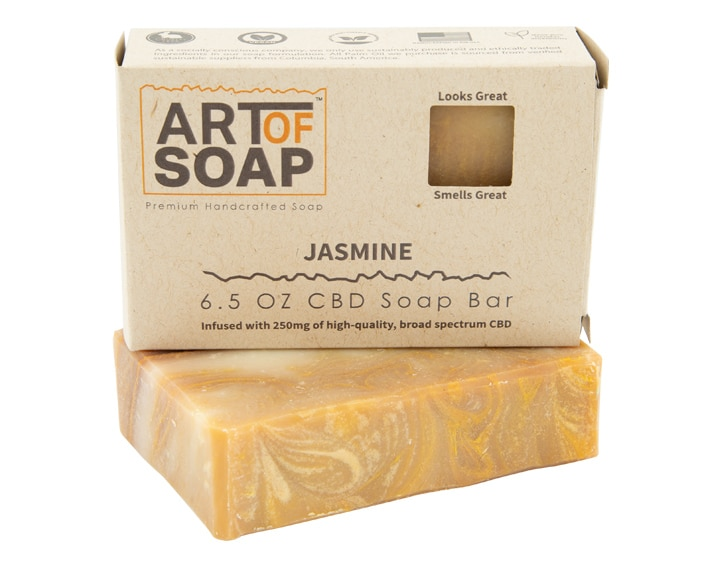 Art of Soap Premium Handcrafted Jasmine CBD infused Soap Bar and Box