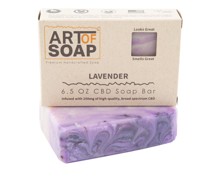 Art of Soap Premium Handcrafted Lavender CBD infused Soap Bar and Box