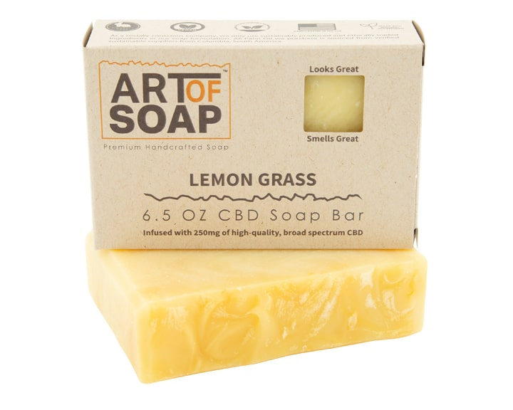 Art of Soap Premium Handcrafted Lemongrass CBD infused Soap Bar and Box