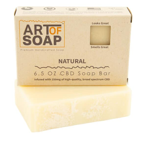 Art of Soap Premium Handcrafted Unscented CBD infused Soap Bar and Box