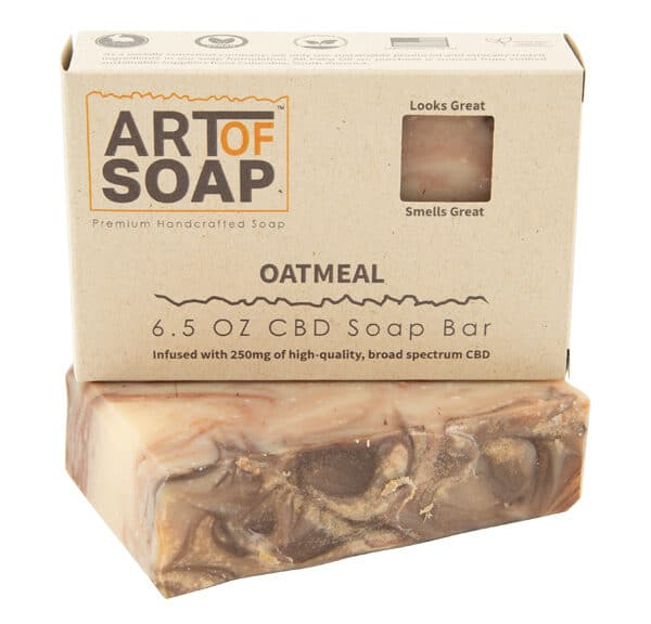 Art of Soap Premium Handcrafted Oatmeal CBD infused Soap Bar and Box