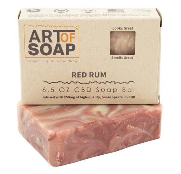 Art of Soap Premium Handcrafted Red Rum CBD infused Soap Bar and Box
