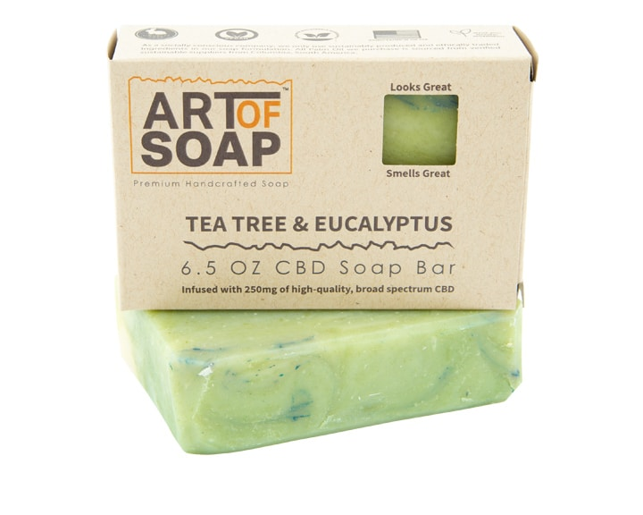 Art of Soap Premium Handcrafted Tea Tree and Eucalyptus CBD InfusedSoap Bar and Box