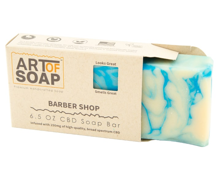 Art of Soap Premium Handcrafted Barber Shop CBD Soap Bar inside box