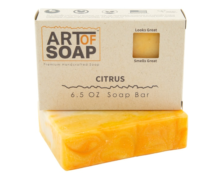 Art of Soap Premium Handcrafted Citrus Soap Bar and Box