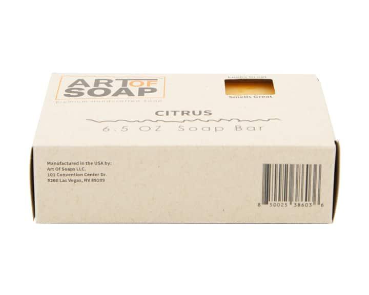 Art of Soap All Natural Citrus Soap Bar Box Barcode Bottom View
