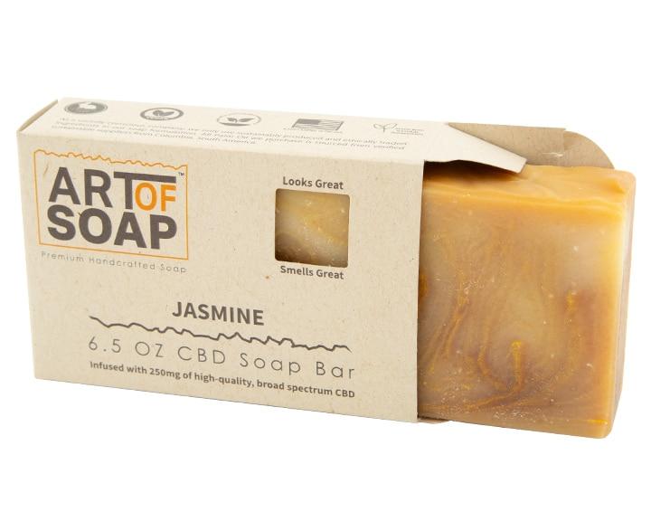 Art of Soap Premium Handcrafted Jasmine CBD Soap Bar inside box
