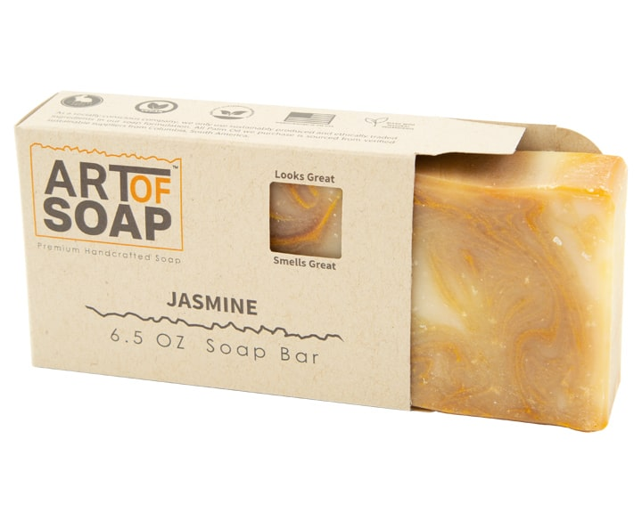 Art of Soap Premium Handcrafted Jasmine Soap Bar inside box