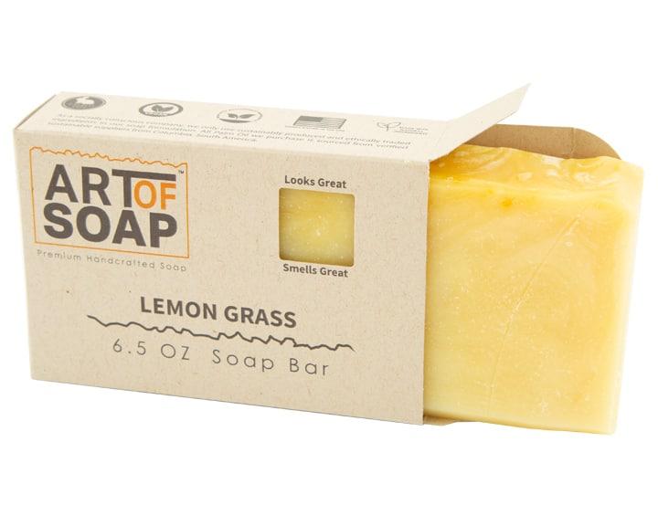 Art of Soap Premium Handcrafted Lemongrass Soap Bar inside box