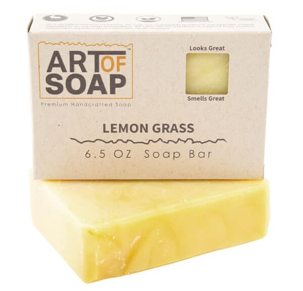 Art of Soap Premium Handcrafted Lemongrass Soap Bar and Box