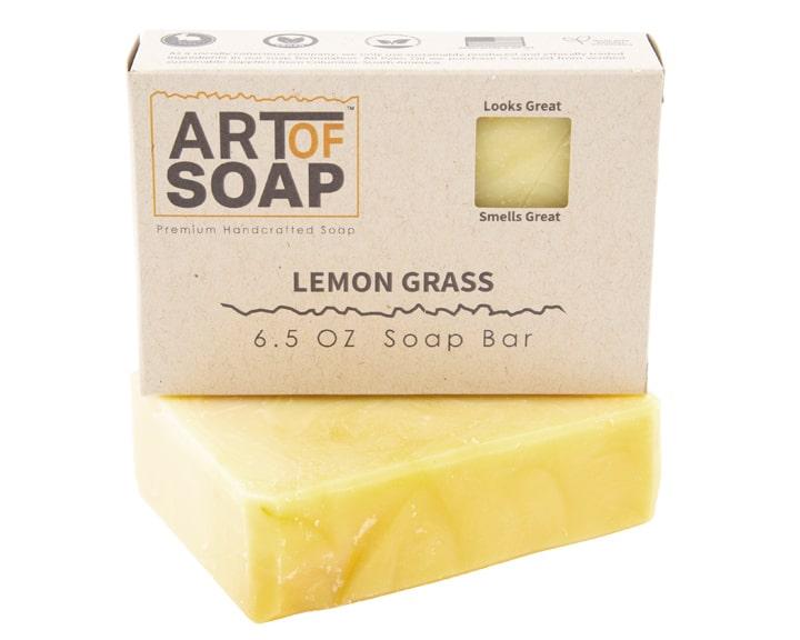 Art of Soap Premium Handcrafted Lemongrass Soap Bar and Box