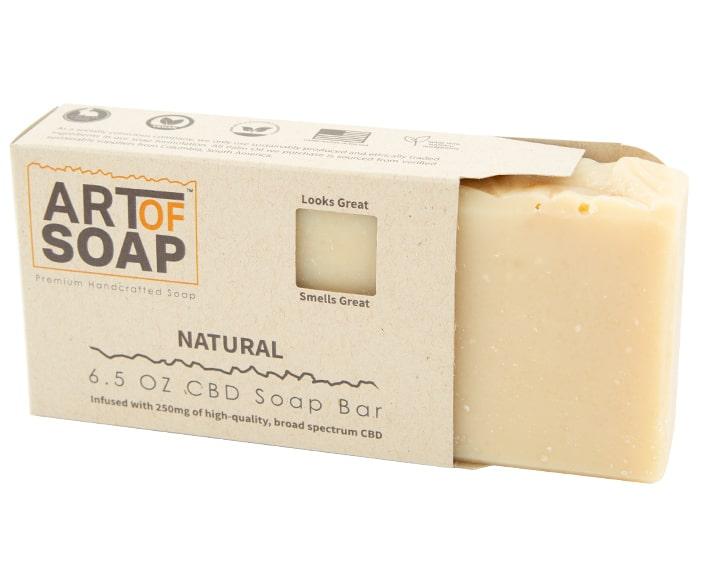 Art of Soap Premium Handcrafted Unscented CBD Soap Bar inside box