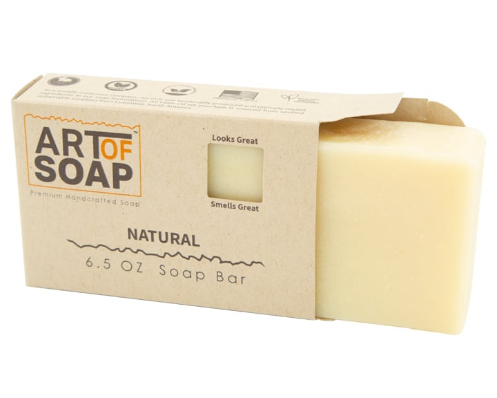 Art of Soap Premium Handcrafted Unscented Soap Bar inside box