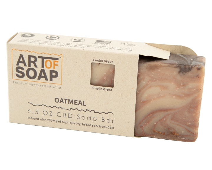 Art of Soap Premium Handcrafted Oatmeal CBD Soap Bar inside box