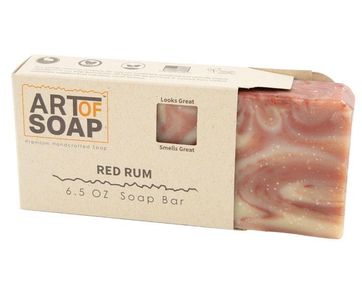 Art of Soap Premium Handcrafted Red Rum Soap Bar inside box