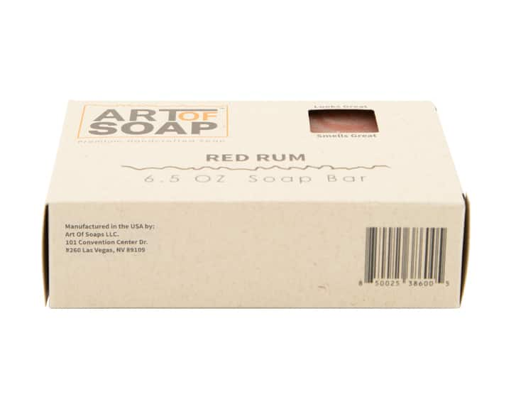 Art of Soap All Natural Red Rum Soap Bar Box Barcode Bottom View