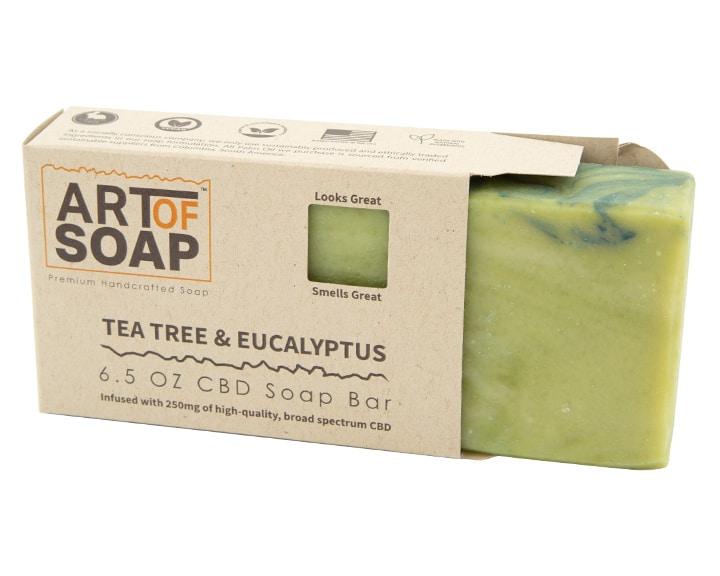 Art of Soap Premium Handcrafted Tea Tree and Eucalyptus CBD Soap Bar inside box