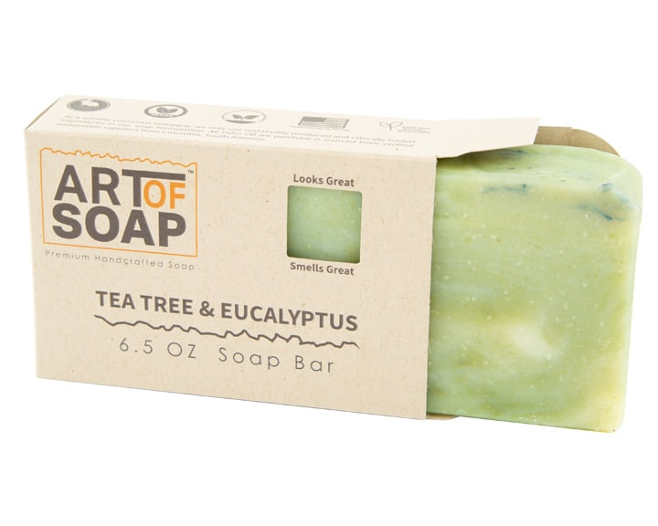 Art of Soap Premium Handcrafted Tea Tree and Eucalyptus Soap Bar inside box