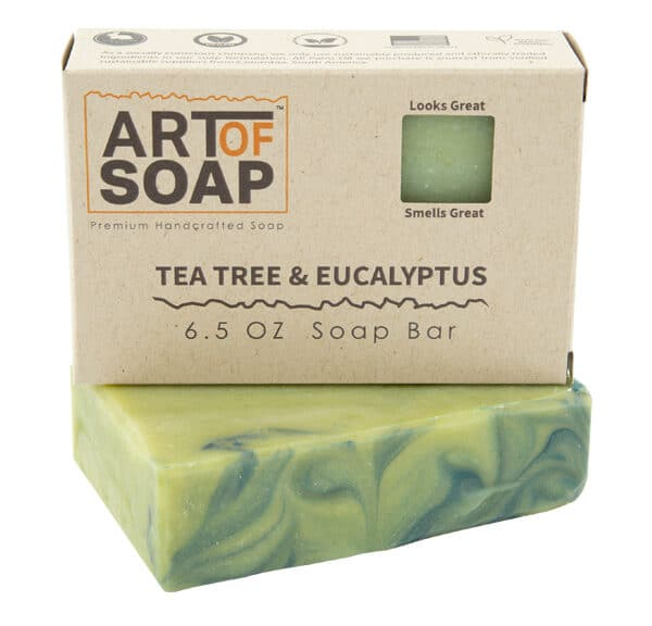 Art of Soap Premium Handcrafted Tea Tree and Eucalyptus Soap Bar and Box