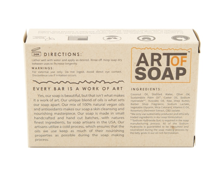 Art of Soap Handcraft Barber Shop CBD Soap Bar Premium Ingredients