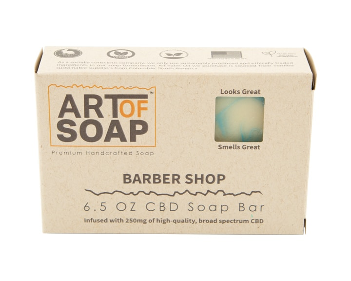 Art of Soap All Natural Premium Barbershop CBD Soap Box Design