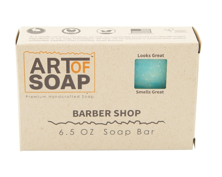 Art of Soap All Natural Premium Barbershop Soap Box Design