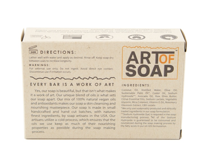 Art of Soap Handcraft Citrus CBD Soap Bar Premium Ingredients