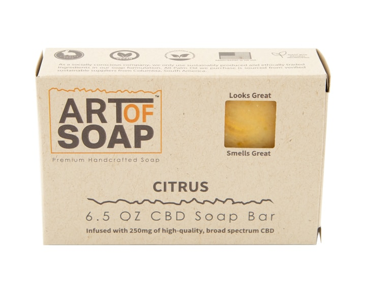 Art of Soap All Natural Premium Citrus CBD Soap Box Design