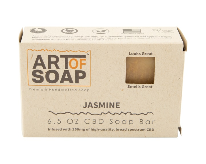 Art of Soap All Natural Premium Jasmine CBD Soap Box Design