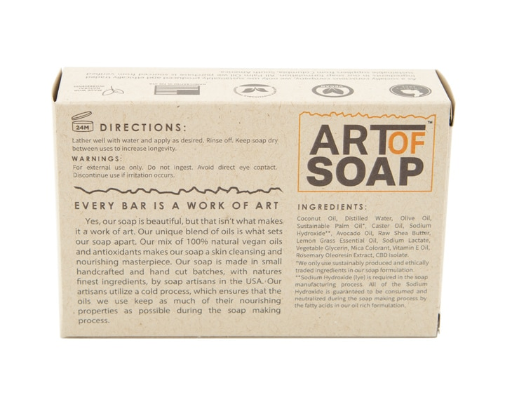 Art of Soap Handcraft Lemongrass CBD Soap Bar Premium Ingredients