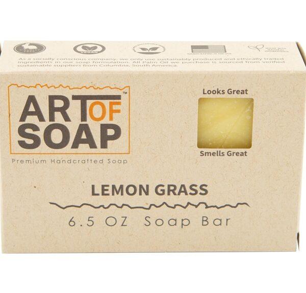 Art of Soap All Natural Premium Lemongrass Soap Box Design
