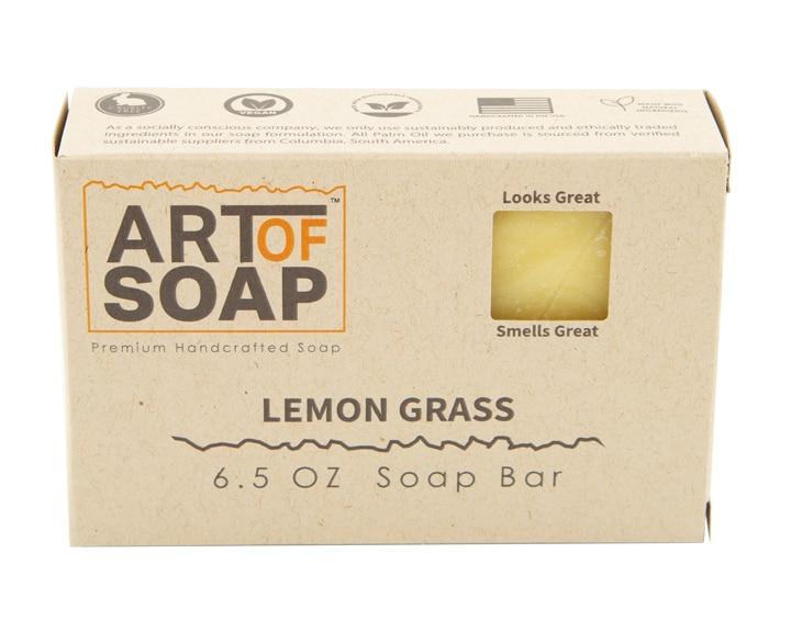 Art of Soap All Natural Premium Lemongrass Soap Box Design