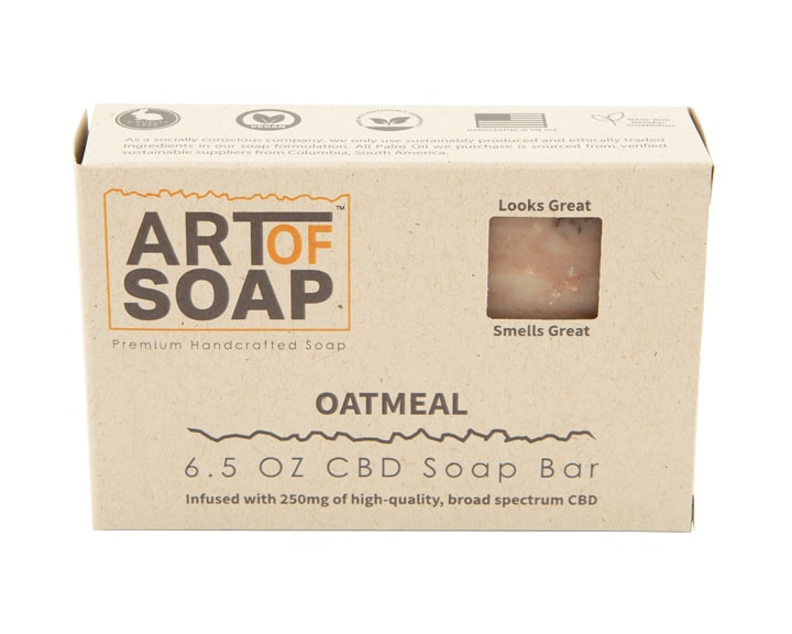 Art of Soap All Natural Premium Oatmeal CBD Soap Box Design