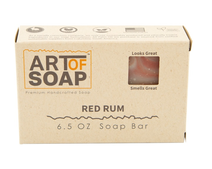 Art of Soap All Natural Premium Red Rum Soap Box Design