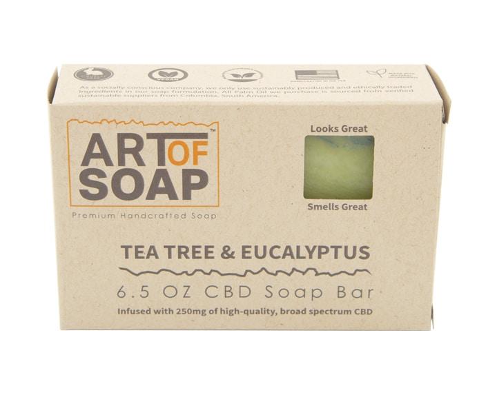 Art of Soap All Natural Premium Tea Tree and Eucalyptus CBD Soap Box Design