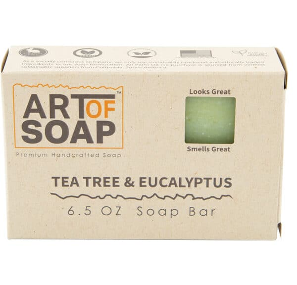 Art of Soap All Natural Premium Tea Tree and Eucalyptus Soap Box Design